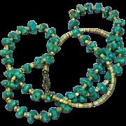SALE Turquoise Single Strand Vintage American Indian Santo Domingo Pueblo Shell Heshi ...
