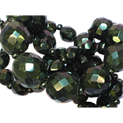 Black Faceted Glass French Jet Graduated Bead Necklace