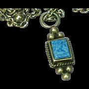 Larimar Gemstone Sterling Silver Pendant Necklace