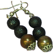 Black on Black Stippled Beads w/ Bronze Bead Pierced Earrings