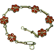 Native American Indian Coral Sterling Silver Hand Crafted Bracelet
