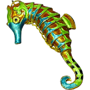 Chinese Export Enameled Gold Tone Cloisonne Articulated Large Sea Horse Necklace Pendant