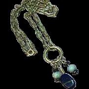SALE Gemstones Peruvian Opal Sterling Silver Lapis Necklace