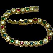 Rhinestones Christmas Colors Bright Goldtone Tennis Bracelet