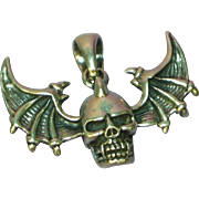 Skull Bat Wings Large Sterling Silver Pendant