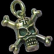 Skull Cross Bones Large Sterling Silver Pendant