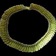 Brass Embossed 1930's Choker Floral Design Necklace