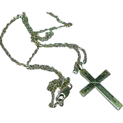 10K White Gold Christian Cross Chain Fine Jewelry Necklace