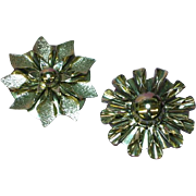 Fancy Fluted Round Bright Silver tone Scarf Clip Set
