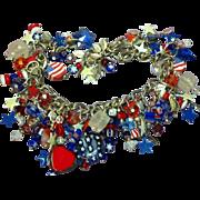 Star Spangled Banner Red White Blue Loaded Patriotic Charm Bracelet