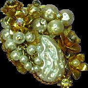 Rhinestones Large Filigree  Faux-Pearls Rose Monte Brooch Pin
