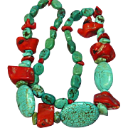 Coral Red Oxblood Polished Turquoise Large Chunk Necklace
