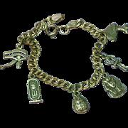 Vintage Sterling Silver Egyptian Theme Charm Bracelet