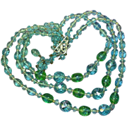 Glorious Unique Teal Crystal Green Crackle Glass Three Strand Necklace