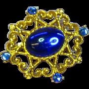 Rhinestones Gripoix Glass Gold tone Brooch Pin
