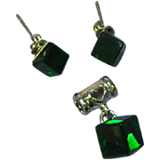 Crystal Deep Dark Forrest Green Square Earrings Pendant Set