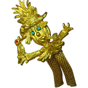 Scarecrow Halloween Holiday Articulated Metal Mesh Leg Action Brooch Pin