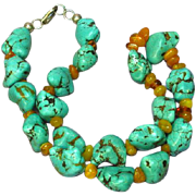 Large Natural Turquoise Chunks Genuine Honey Amber Bead Sterling Silver Necklace