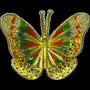 Art Nouveau Filigree 800 Silver Plique a Jour  Italian Enamel Butterfly Pin Brooch