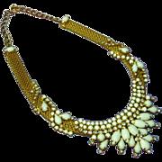 Elegant HOBE Rhinestones Milk Glass Gold Tone Mesh Choker Necklace