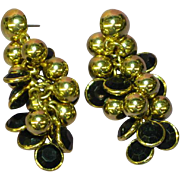Beautiful Black Gold Cha Cha Dangle Pierced Post Earrings