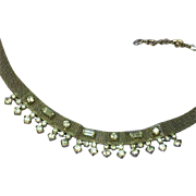 Beautiful Silver Tone Mesh with Clear Rhinestone Crystals Necklace