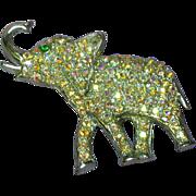 Oleet Marked Sweet Rhinestone Elephant Brooch Pin