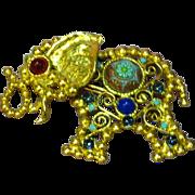 Juliana Verified D&E Turquoise Moroccan Painted Cabochon  Gripoix Glass Elephant Ball & Chain