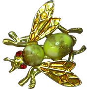 Bug/Insect Art Glass Rhinestone Goldtone Flying Figural Brooch Pin