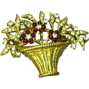 Crown Trifari Marked Gripoix Ruby Glass Flower Basket Rhinestone Brooch Pin