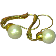 Classic 14K Yellow Gold  Cultured Pearl Lever-Back Pierced Earrings