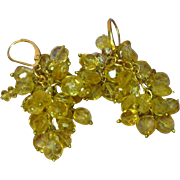 Gemstones Genuine Golden Faceted Citrine Gold Filled Pierced Earrings