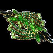 Juliana D&E Rhinestones Light and Dark Greens Designer Brooch Pin
