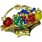 Gripoix Ruby Green Blue Glass Flower Basket Rhinestone Large Brooch Pin