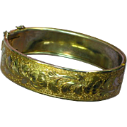 Gold Tone Etched Floral Hinged Victorian Revival Style Bracelet