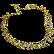 Simulated Golden Baroque Pearls Tiny Peach Crystals Dangle Lavish Bib Necklace