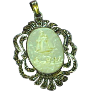 Carved Mother of Pearl Sterling Silver  Marcasite Religious Devotional Cameo Pendant