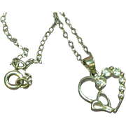 "Sterling Silver CZ Open Double Heart Pendant on 18"" Sterling Chain Necklace"