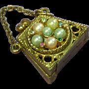 Rhinestones Faux Pearl Purse 1950 Perfume Vinaigrette Bracelet Charm Pendant