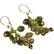 Gemstones Faceted Watermelon Tourmaline Cluster Dangle Gold Filled Earrings