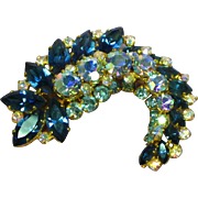 Vintage Signed Austria Rhinestone  Stunning Blues Color Leaf Pin Brooch