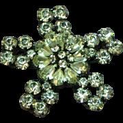 Vintage Signed Austria Rhinestone Stunning Clear Snowflake Pin Brooch
