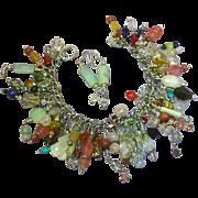 Gemstone Genuine Dangle Sterling Silver Charm Bracelet & Pierced Earrings