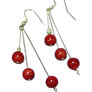 Coral Mediterranean Red Sterling Silver 8 mm Large Bead Dangle Pierced Earrings