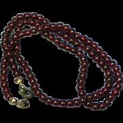 Vintage Real Genuine Natural Hand Polished Garnet Bead Necklace