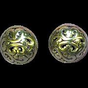 Jezlaine Sterling Silver Filigree Openwork Button Pierced Earrings