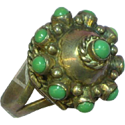 Mexico Sterling Silver Massive Vintage Poison Turquoise Ring