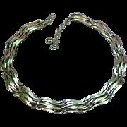 Trifari Bright Silver Link Choker Necklace