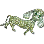 Rhinestones Vintage Silver Tone Fancy Domed Poodle Dog Articulated Trembler Pin Brooch