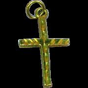 14k Solid Yellow Gold Diamond Cut Cross Pendant